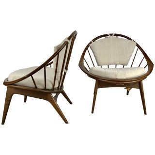 Classic Danish Modernist 'Hoop' Chairs by Ib Kofod-Larsen for Selig - a Pair For Sale
