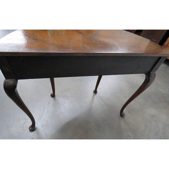 Early 20th Century Queen Anne Burl Walnut Demilune Console Table For Sale - Image 5 of 10