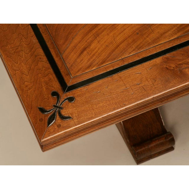 Early 20th Century Vintage French Solid Walnut Farm Table w/Trestle & Fleur De Lys For Sale - Image 5 of 10