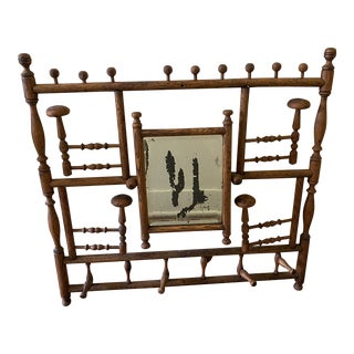 Antique Victorian Hall Tree Wall Mirror Hat & Coat Rack For Sale
