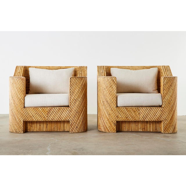 Beige Pair of Gabriella Crespi Inspired Bamboo Rattan Lounge Chairs and Ottoman For Sale - Image 8 of 13