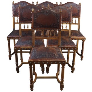 Antique Dining Chairs Henry II Renaissance 1900 - Set of 6 For Sale