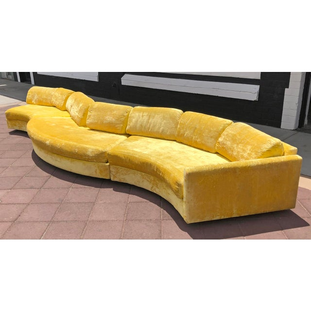 Adrian Pearsall Serpentine Crushed Yellow Velvet Sofa For Sale In Phoenix - Image 6 of 6