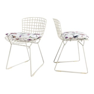 "Harry Bertoia Child's Chairs With ""Flower Homicide"" Cushions, Pair For Sale"