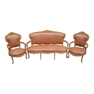 Antique French Victorian Carved Parlor Set Settee and Two Chairs Newly Upholstered - 3 Pieces For Sale