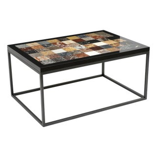 Rectangular Iron Coffee Table With Specimen Marble Top, Italy, Circa 1960s For Sale