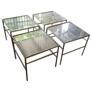 Faux Bamboo Metal Side Tables - Set of 4
