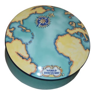 Tiffany & Co Tauck World Discovery Porcelain Powder Jewelry Trinket Box For Sale