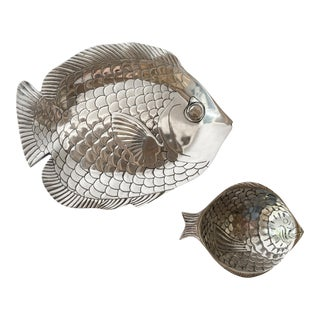 Pewter Fish Platter and Bowl Set - Set of 2 For Sale