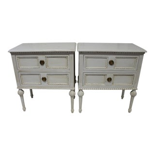 20th CenturySwedish Gustavian Grey Bedside Nightstands - a Pair