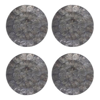 Contemporary Kim Seybert Round Gray Capiz Placemat - Set of 4