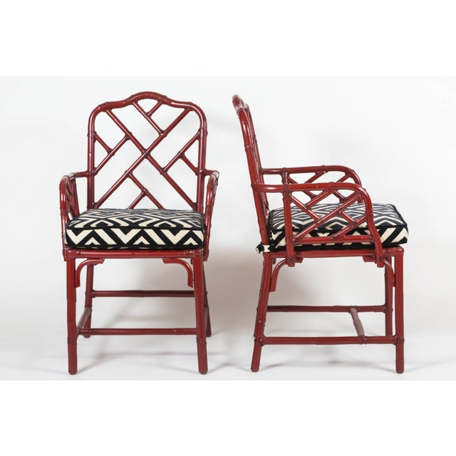 Vintage Bamboo Chinese Chippendale Chairs - A Pair - Image 3 of 9