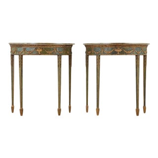 18th Century English Adams Demilune Consoles With Scagliola Marble Tops For Sale