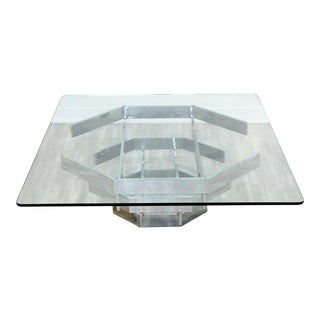 Mid Century Modern Paul Mayen Octagon Chrome Coffee Table Glass Top 1970s For Sale
