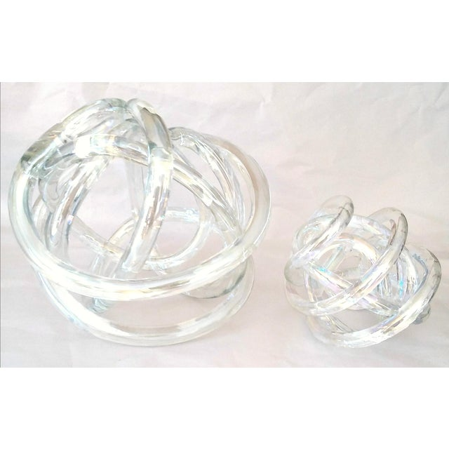 Murano Cased Glass Sculptural Knot With Companion Piece - a Pair For Sale - Image 4 of 5