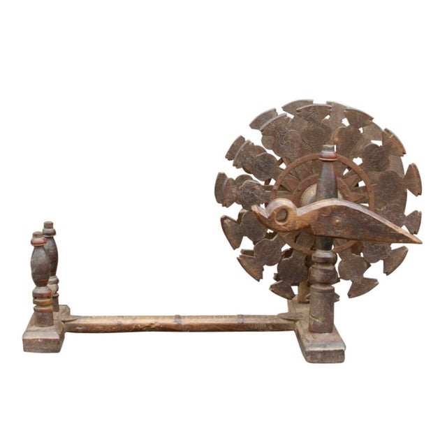 Metal Charkha Carved Spinning Wheel For Sale - Image 7 of 7