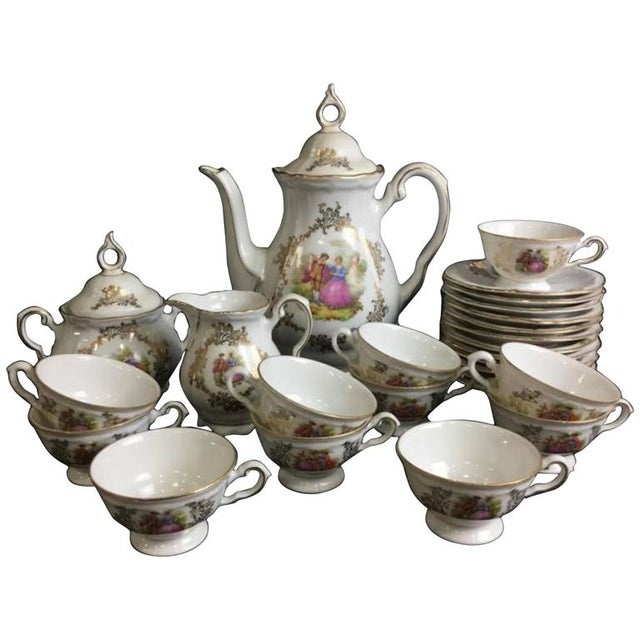 Bavaria Porcelain Demitasse Courting Couple Tea Set For Sale - Image 4 of 4