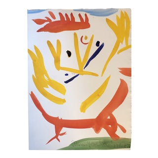 """Original Vintage Robert Cooke """"Dancing Yellow Chicken """" Abstract Painting 1970's For Sale"""