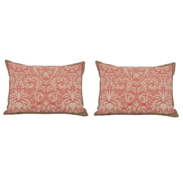 Pair of Fortuny Fabric Pillows With Greek Key Trim For Sale In New York - Image 6 of 6
