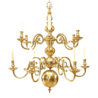 English Georgian Style Brass Scroll Arm Chandeliers For Sale