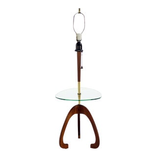 Mid-Century Modern Floor Lamp with Glass Table and Walnut Base Pearsall