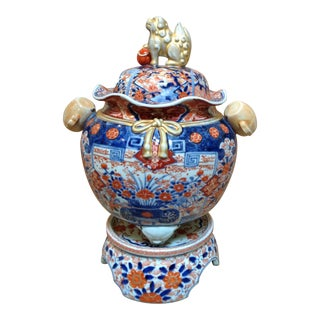 Antique Imari Incense Burner with Stand Monumental