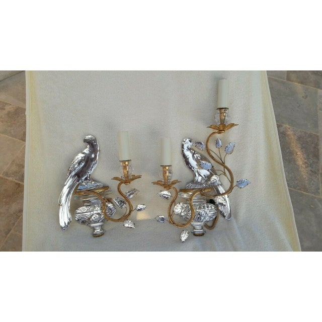 French Art Deco Authentic Maison Bagues Crystal Opposing Face Parrot Sconces, a Pair For Sale - Image 10 of 11