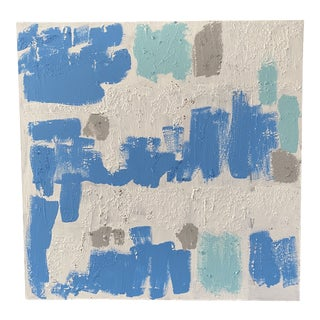 Contemporary Abstract Light Blue and White Mixed-Media Painting For Sale
