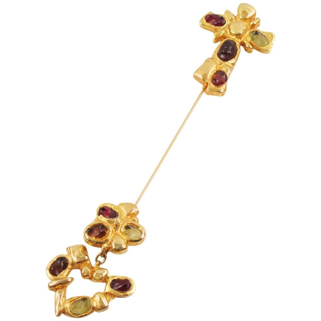 Green Christian Lacroix Paris Signed Long Pin Brooch Gilt Metal and Cabochon For Sale - Image 8 of 8
