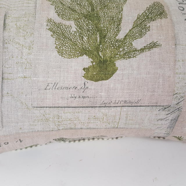 Cotton Green Botanical Bolster Pillow For Sale - Image 7 of 11