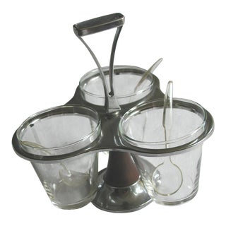 Vintage Glass & Stainless Steel Condiment Rotating Caddie For Sale
