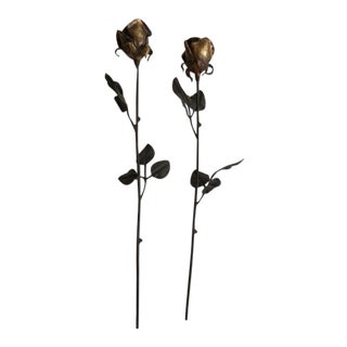 Antique Gilded Iron Roses - A Pair For Sale