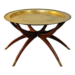 Vintage Moroccan Brass and Wood Spider Leg Table For Sale