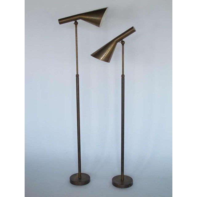 1970s Italian Modern Brass Floor Lamps - a Pair For Sale - Image 10 of 11