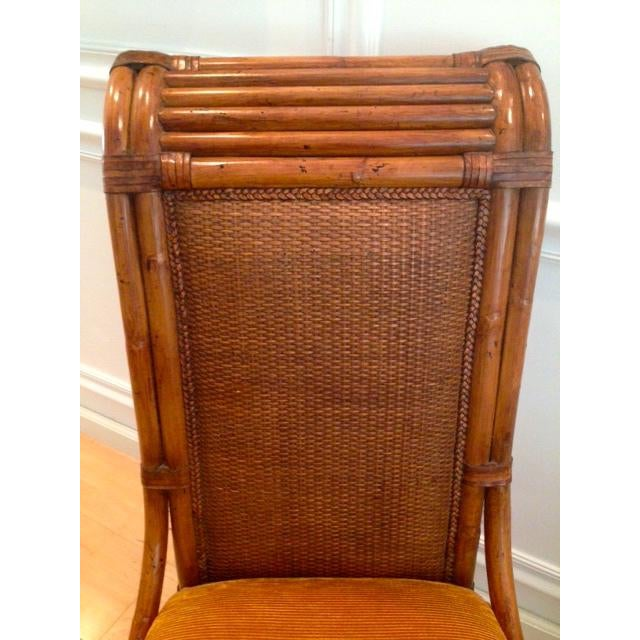 Tommy Bahama Wicker Rattan Upholstered Side Chairs - A Pair - Image 6 of 8