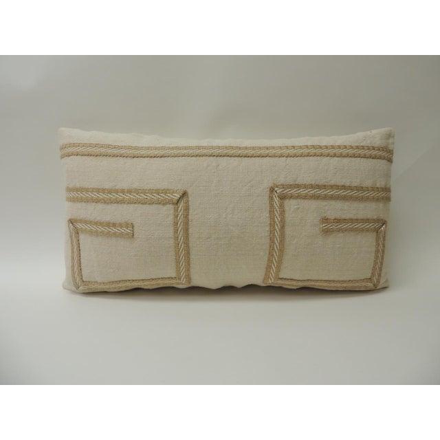 1980s Vintage Linen Bolster Decorative Pillow With Vintage Jute Trims For Sale - Image 5 of 5