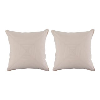 Custom Ticking Mitered Pillows with Flange Detail - a Pair For Sale