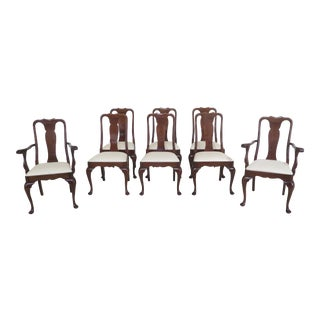 1990s Vintage Stickley Cherry Queen Anne Dining Room Chairs- Set of 8 For Sale