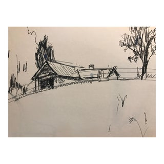 Vintage 1966 Barn Drawing For Sale