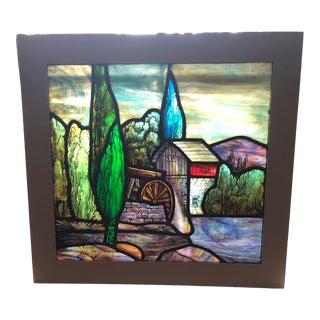 Vintage Water Mill Stained Glass For Sale