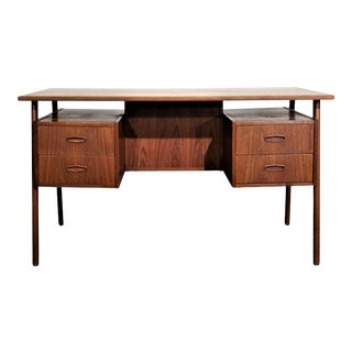 "Original Danish Mid Century Teak Floating Desk - ""Hyggja"" For Sale"