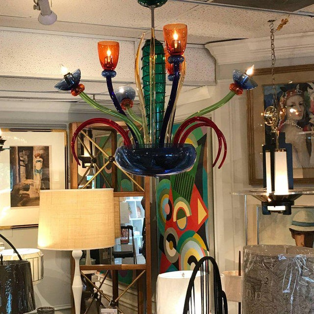Artemide Colorful Italian Artimede Ve-Art Glass Chandelier in the Manner of Gio Ponti For Sale - Image 4 of 13