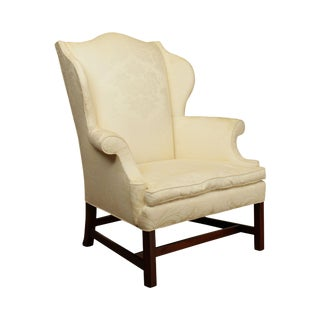Henredon Historic Natchez Collection Chippendale Style Mahogany Wing Chair For Sale