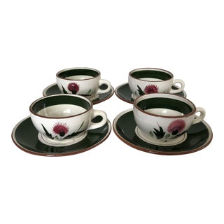 "Midcentury Stangl Pottery ""Thistle"" Set of 4 Teacups & Saucers For Sale"