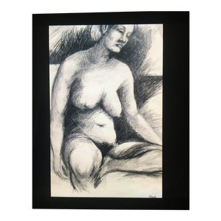 1960's Charcoal Nude Drawing, Signed For Sale