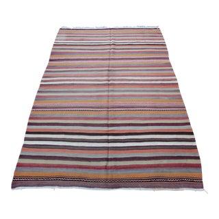 "Vintage Turkish Decorative Stripe Kilim - 9'8"" x 5'11"" For Sale"