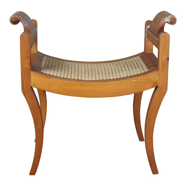 French Country Pine Foot Stool Scrolled Arms Spain Vanity Caned Seat Bench For Sale