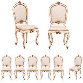 Vintage Mid Century Italian Carved Wood & Upholstered Side Chairs- Set of 8 For Sale