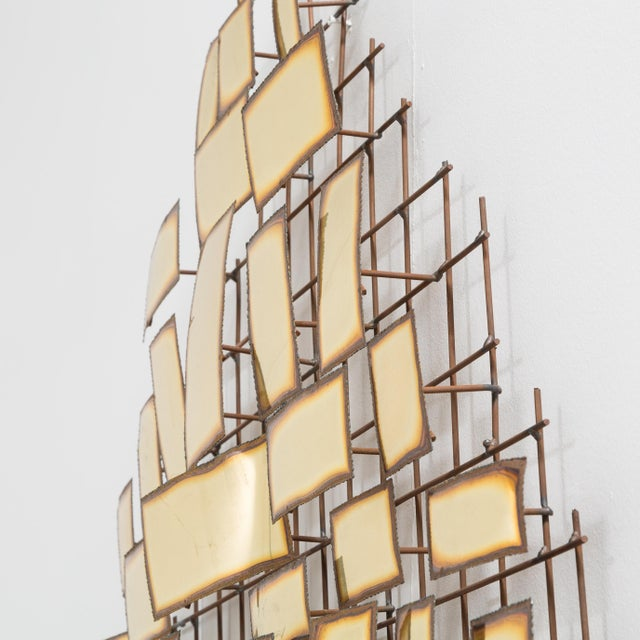 A Large Polished Metal Wall Sculpture 1970s signed For Sale - Image 6 of 9