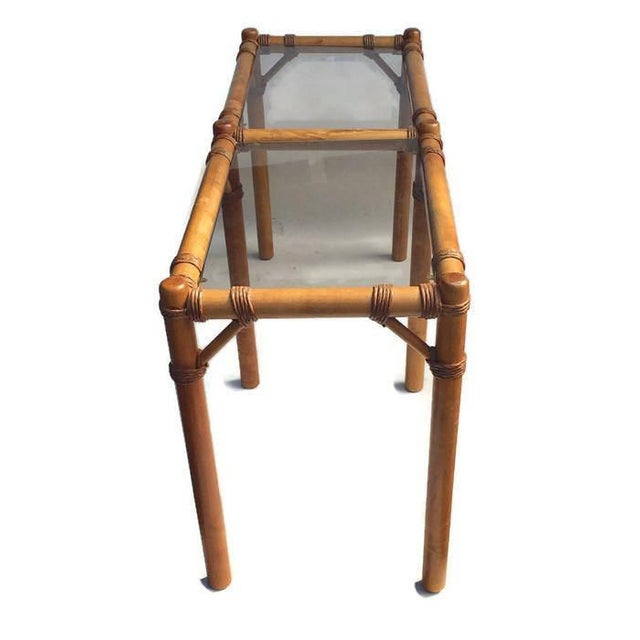 """Vintage Safari Campaign Sofa Table Console Table Smokey Glass - 50"""" For Sale In Richmond - Image 6 of 11"""